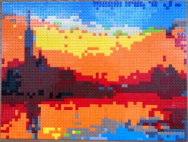 Monet painting of Saint-Georges majeur au crépuscule as built in LEGO