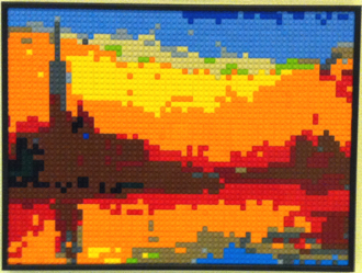 LEGO-based reproduction of a Monet painting